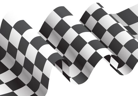Checkered flag waving on white design for race championship illustration.