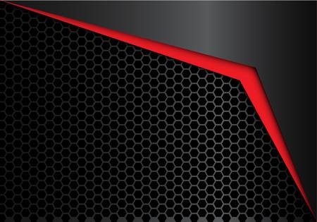 Abstract red arrow on black metal hexagon mesh design modern luxury background texture vector illustration.