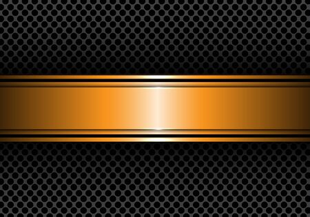 surface: Abstract gold black line banner on circle mesh design modern luxury background texture vector illustration.
