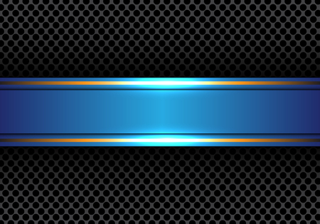surface: Abstract blue gold line banner on circle mesh design modern luxury background texture vector illustration. Illustration
