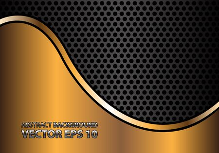 metal mesh: Abstract gold curve line on gray metal circle mesh design modern luxury background texture vector illustration. Illustration