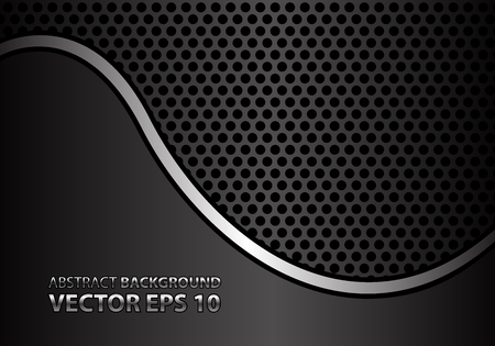 metal grid: Abstract silver curve line on gray metal circle mesh design modern luxury background texture vector illustration. Illustration