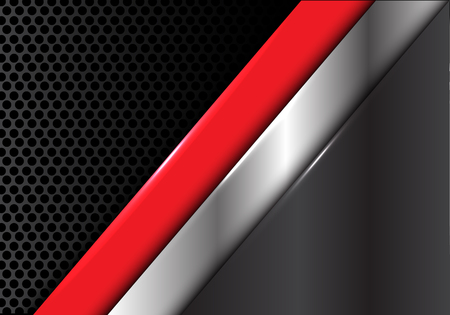 Abstrait rouge gris argenté sur cercle maille conception illustration vectorielle moderne texture fond.