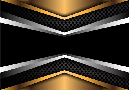Abstract black banner silver gold blue overlap on circle mesh design modern luxury background texture vector illustration.
