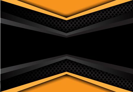 Abstract black banner dark gray yellow overlap on circle mesh design modern background texture vector illustration.