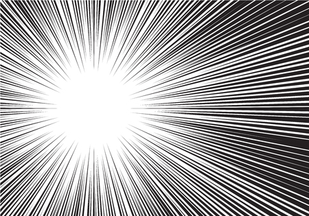 Abstract radial zoom black speed line on white for comic vector illustration.