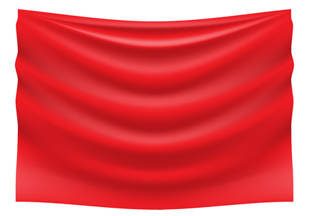 Red fabric satin wave hank on white background vector illustration. Ilustrace
