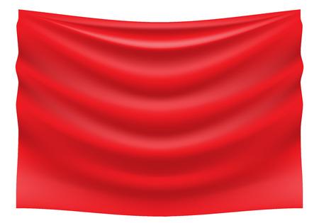 Red fabric satin wave hank on white background vector illustration. Illustration