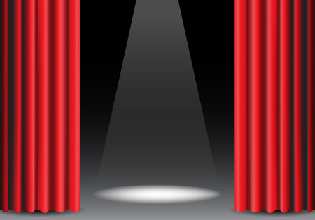 Red curtain open on black with spot light design stage show vector illustration.
