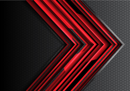 Abstract red arrow technology futuristic on gray hexagon mesh design modern creative idea background vector illustration.