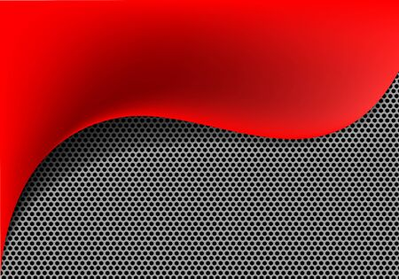 Abstract red fabric wave on metal circle mesh design modern luxury background texture vector illustration. Ilustração