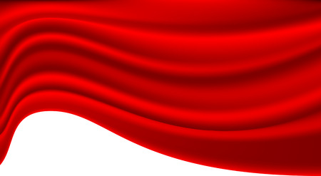 velvet ribbon: Abstract red fabric wave on white blank space for text place background texture vector illustration.