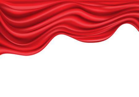 Red satin fabric wave on white luxury background vector illustration. Stock Illustratie