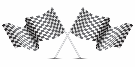 Checkered flag crossed on white for sport race championship vector illustration.