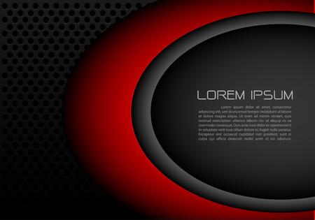 Lieu de texte espace abstrait courbe rouge avec le cercle noir conception de fond de luxe moderne futuriste illustration vectorielle.