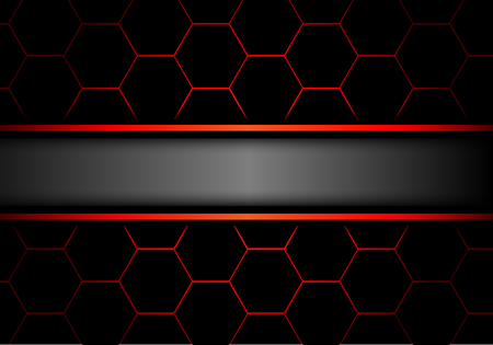 黒い六角形の灰色のバナーはメッシュ赤線デザイン モダンで豪華な未来の背景ベクトル図です。