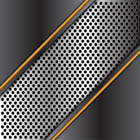 Abstract dark metal plate triangle silver circle mesh banner yellow line design modern futuristic background vector illustration. Illustration