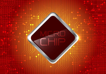 electronic components: Micro Chip on red circuit pattern background design modern computer futuristic background vector illustration.