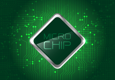 electronic components: Micro Chip on green circuit pattern background design modern computer futuristic background vector illustration. Illustration