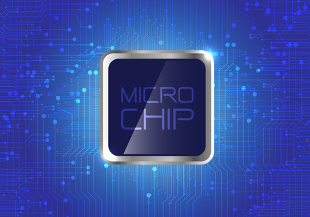 electronic components: Micro Chip on blue circuit pattern background design modern computer futuristic background vector illustration.