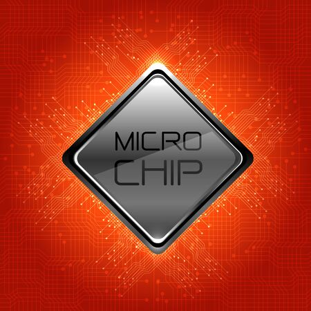 electronic components: Micro Chip on red circuit pattern design