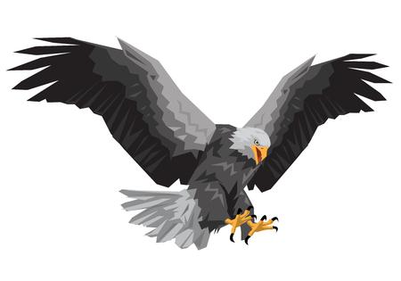 翼を飛ぶハクトウワシは、白い背景のベクトル図のポリゴンを急襲します。