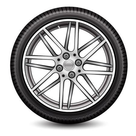 Radial Rad Auto Legierung mit Reifen auf weißem Hintergrund Vektor-Illustration. Vektorgrafik