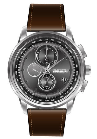 Silver watch chronograph brown leather strap on white background vector illustration.
