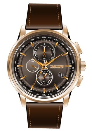 Correa de cuero marrón del cronógrafo del reloj de oro en el vector blanco del fondo.