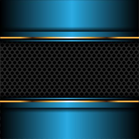 Maille abstraite cercle gris foncé en illustration vectorielle de fond bleu métal or design futuriste luxe fond.