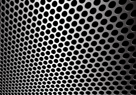 Abstract silver circle mesh 3D background texture vector illustration.