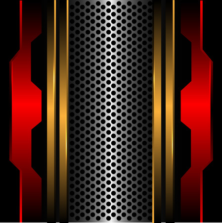 Abstract silver circle mesh gold line red metal in black design modern futuristic background texture vector illustration.