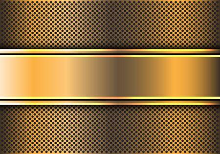 Abstract gold line banner on circle mesh design modern luxury futuristic background vector illustration. Çizim