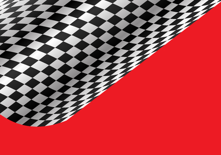 Abstract checkered wave flying on red for sport race championship background vector illustration.