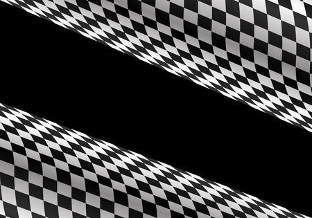 Abstract checkered curve on black for sport race championship background vector illustration.