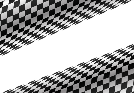Abstract checkered curve on white for sport race championship background vector illustration. Иллюстрация