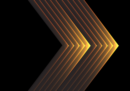 Abstract gold arrow light on black design modern luxury futuristic background vector illustration.