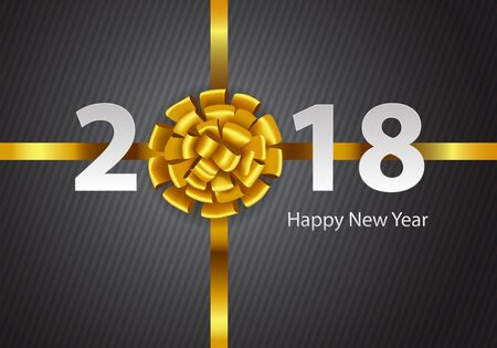 Happy New Year 2018 gold ribbon white number text on gray line pattern design for holiday festival countdown celebration background vector illustration. Illusztráció