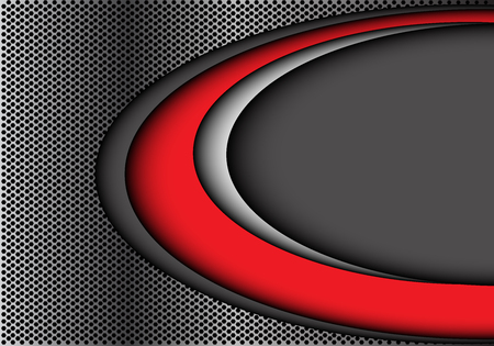Abstract red white curve on gray circle mesh design modern futuristic background vetor illustration.