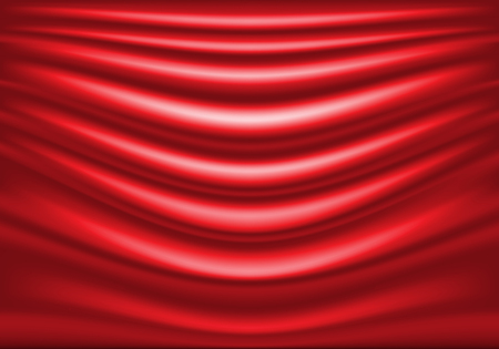 Red fabric satin wave curve background texture luxury vector illustration. Ilustrace