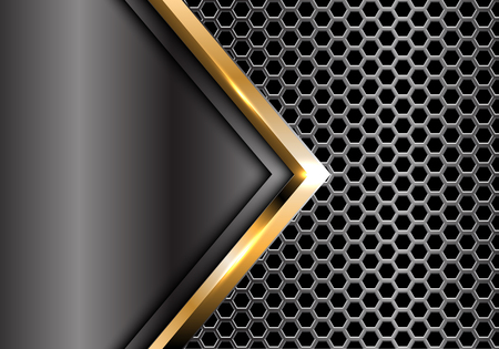 Abstract gold arrow gray metal on hexagon mesh pattern design modern luxury futuristic background vector illustration. Ilustração