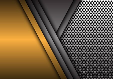Abstract gold and gray metal overlap on circle mesh pattern design modern futuristic background vector illustration.
