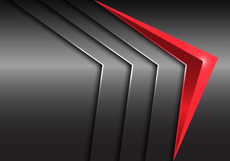 Abstract red arrow 3D on metal plate design modern luxury futuristic background vector illustration. Stock Illustratie