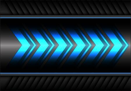 Abstract blue arrow light power speed on gray metal design modern futuristic background vector illustration.