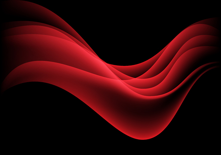 Abstract red wave smooth smoke on black design modern background vector illustration.  イラスト・ベクター素材