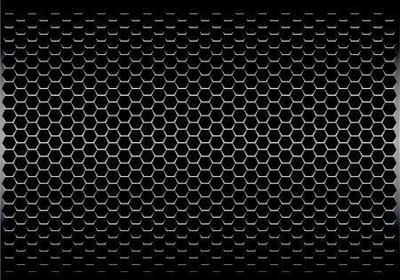 gris oscuro hexágono metal patrón de malla metálica futurista fondo de la textura de la ilustración del vector .