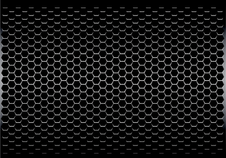 Dark gray hexagon metal mesh pattern design modern futuristic background texture vector illustration. Vettoriali