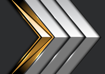Abstract gold metal arrow on gray design modern luxury futuristic background vector illustration.