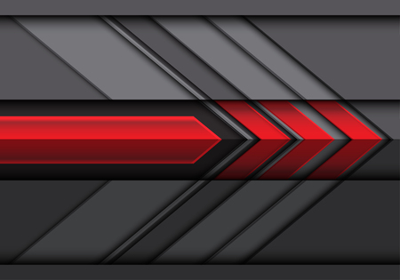 Abstract red gray arrow 3D direction design modern futuristic background vector illustration.