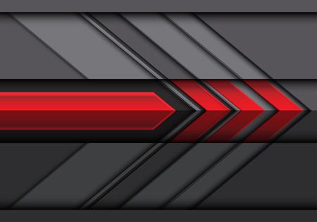Illustrazione futuristica moderna di vettore del fondo del disegno di direzione della freccia grigio rossa 3D.